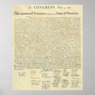UNABHÄNGIGKEITSERKLÄRUNG am 4. Juli 1776 Poster