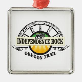 Unabhängigkeitsfelsen-Siegel Quadratisches Silberfarbenes Ornament