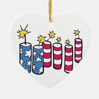 Unabhängigkeitstag-Feuerwerke Keramik Herz-Ornament