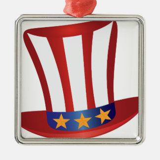 Unabhängigkeitstag-Hut-Gold hat Illustration in Quadratisches Silberfarbenes Ornament