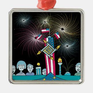 Unabhängigkeitstag-Leute-aufpassende Feuerwerke Quadratisches Silberfarbenes Ornament