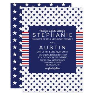 Unabhängigkeitstag-patriotische Hochzeit 12,7 X 17,8 Cm Einladungskarte