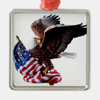 Unabhängigkeitstag Vereinigte Staaten Quadratisches Silberfarbenes Ornament