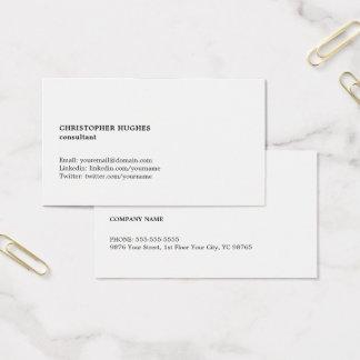 Unbedeutender einfacher Schwarz-weißer Berater Visitenkarte
