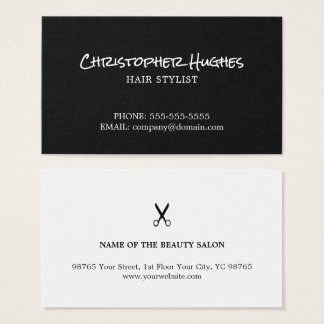 Unbedeutender eleganter Schwarzweiss-Friseur Visitenkarte