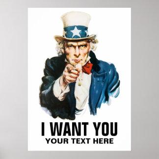 Uncle Sam Will ich Sie Vintages Plakat