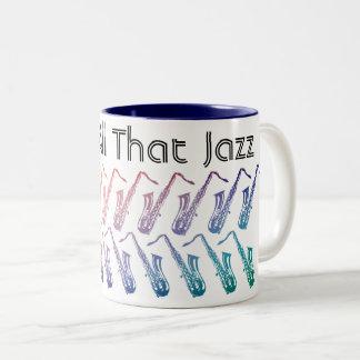 Und dieses ganzes Jazz-Muster Zweifarbige Tasse