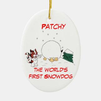 Uneinheitlich die Snowdog Weihnachtsverzierung Keramik Ornament