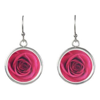 Unendlichkeits-Rote Rose Ohrringe