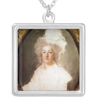 Unfertiges Porträt von Marie-Antoinette Halskette Mit Quadratischem Anhänger