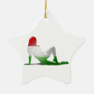 Ungarische Mädchen-Silhouette-Flagge Keramik Stern-Ornament