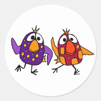 Unglaublich witzig Vogel-Cartoon des Tanzen-AF Runder Aufkleber