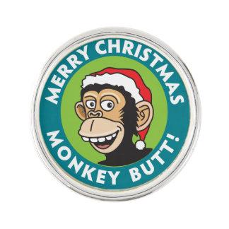 Unhöflicher Affe-Weihnachtsgruß Anstecknadel