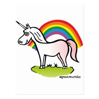 Unicorn and Rainbow - Einhorn und Regenbogen Postkarte