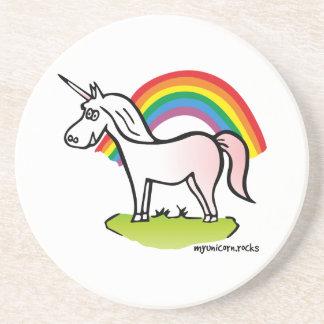 Unicorn and Rainbow - Einhorn und Regenbogen Sandstein Untersetzer