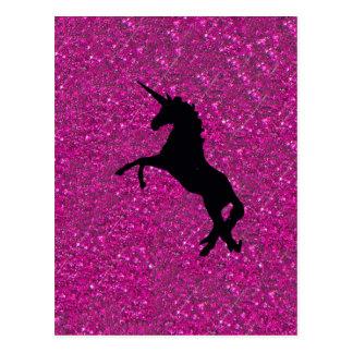 Unicorn auf rosa Glitter Postkarte