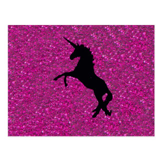 Unicorn auf rosa Glitter Postkarten