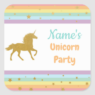 Unicorn-Geburtstags-Party-Glitzer-Mädchen scherzt Quadratischer Aufkleber