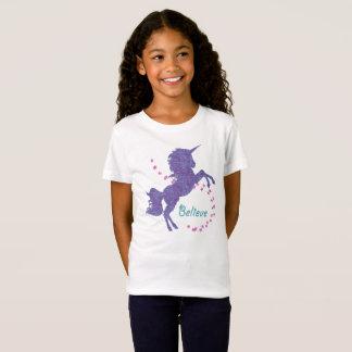 Unicorn glauben lila rosa Imitat-Glitter-Effekt T-Shirt
