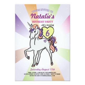 Unicorn-laden lila Geburtstags-Party-Mädchen ein 12,7 X 17,8 Cm Einladungskarte