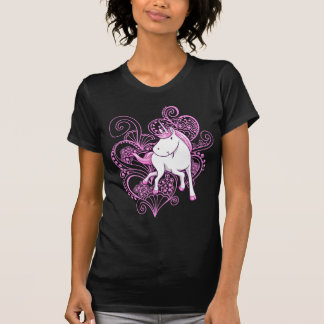 Unicorn mit Hennastrauch-Herz-T - Shirt
