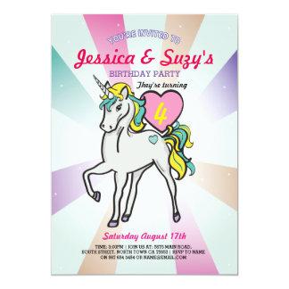 Unicorn-paart lila Geburtstags-Party Mädchen 12,7 X 17,8 Cm Einladungskarte