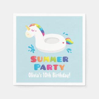 Unicorn Pool Float Summer Birthday Party Napkins Papierservietten