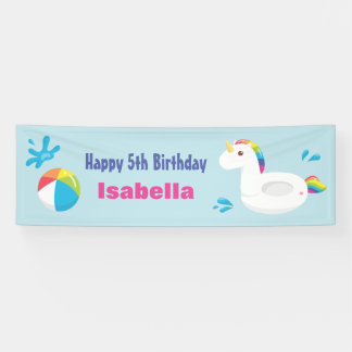 Unicorn-Pool-Floss-Sommer-Geburtstags-Party-Fahne Banner