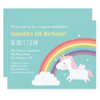 Unicorn-Regenbogen-Mädchen-Geburtstags-Party 10,8 X 14 Cm Einladungskarte
