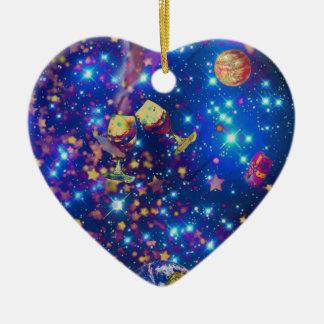 Universum und Planeten feiern das Leben mit einem Keramik Herz-Ornament