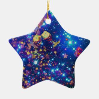 Universum und Planeten feiern das Leben mit einem Keramik Stern-Ornament