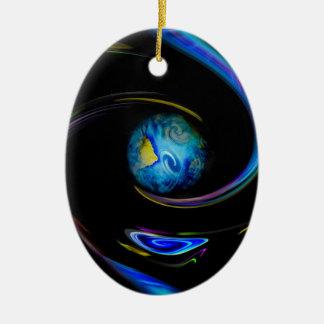 Unser blauer Planet Ovales Keramik Ornament