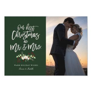 Unser erstes Weihnachten in der grünen 12,7 X 17,8 Cm Einladungskarte