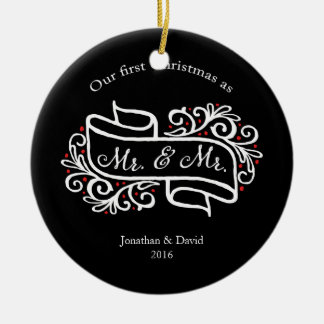 Unser erstes Weihnachtszusammen homosexuelles Keramik Ornament