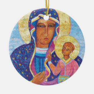 Unsere Dame von Czestochowa schwarzes Madonna Rundes Keramik Ornament