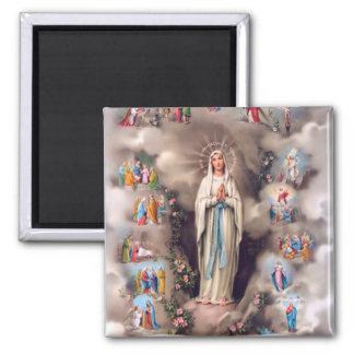 Unsere Dame von Lourdes Quadratischer Magnet