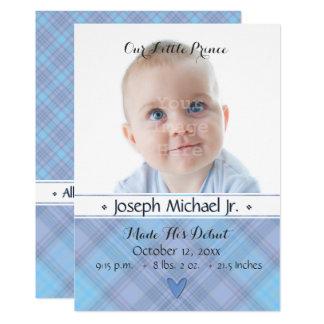 Unsere kleine Geburts-Mitteilung Prinz-Baby 12,7 X 17,8 Cm Einladungskarte