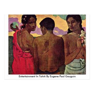 Unterhaltung in Tahiti durch Eugene Paul Gauguin Postkarte