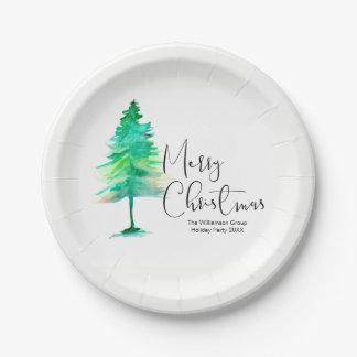 Unternehmens, WeihnachtsParty, Aquarell-Pinetree Pappteller