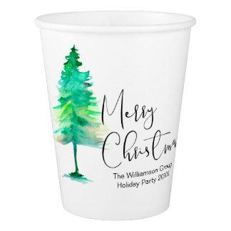 UnternehmensweihnachtsParty, Aquarell-pinetree, Pappbecher