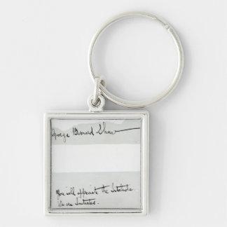 Unterschrift von George Bernard Shaw Silberfarbener Quadratischer Schlüsselanhänger