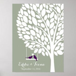 Unterschriftenhochzeits-Gastbuch-Baumvogel lila Poster