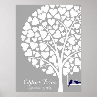 Unterschriftenhochzeits-Gastbuch-Baumvogelmarine Poster