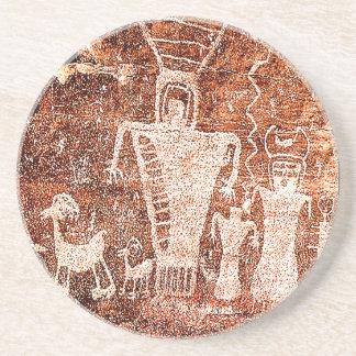 Ureinwohner-alte Astronauten-Petroglyphe Untersetzer