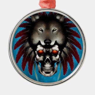 Ureinwohner-Schädel mit Wolf durch Thomas-Maurer Rundes Silberfarbenes Ornament