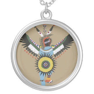 Ureinwohner-Tänzer-Silber-Halskette Halskette Mit Rundem Anhänger