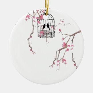 Ursprüngliche Kirschblüte Birdcagegrafik Rundes Keramik Ornament