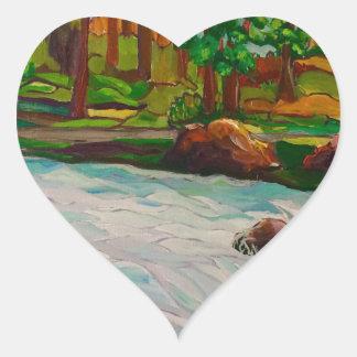 ursprüngliche Ölgemälde-Landschaft Herz-Aufkleber