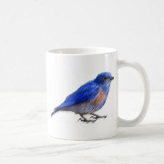 Ursprüngliche Skizze eines blauen Vogels (Drossel) Kaffeetasse