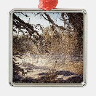Ursprünglicher Kiefer-Waldwinter-Wald Quadratisches Silberfarbenes Ornament